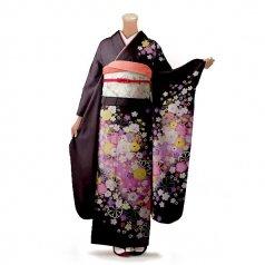 振袖 フルセット 花柄 Mサイズ 茶系 (中古 リユース 美品) 76276