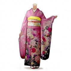 振袖 フルセット 花柄 Lサイズ ピンク・オレンジ系 (中古 リユース 美品) 46334