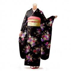 振袖 フルセット 花柄 Mサイズ 茶系 (中古 リユース 美品) 76262