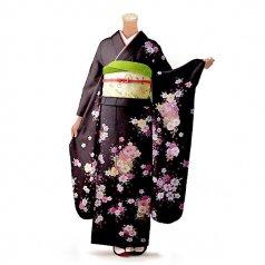 振袖 フルセット 花柄 Mサイズ 茶系(中古 リユース 美品)76183