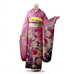 振袖 フルセット 花柄 Mサイズ ピンク・オレンジ系 (中古 リユース 美品) 46334