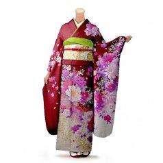 振袖 フルセット 花柄 Lサイズ 赤・ワイン系 (中古 リユース 美品) 16281