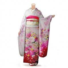 振袖 フルセット 花柄 Lサイズ 白・グレー系 (中古 リユース 美品) 86341