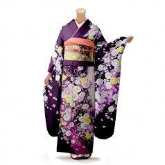 振袖 フルセット 花柄 Lサイズ 紫系(中古 リユース 美品)56324