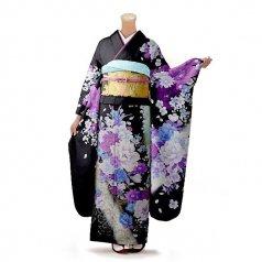 振袖 フルセット 花柄 Lサイズ 黒系(中古 リユース 美品)66355