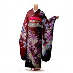 振袖 フルセット 花柄 Lサイズ 赤・ワイン系 (中古 リユース 美品) 16384