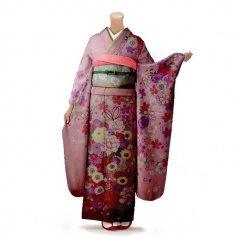 振袖 フルセット 花柄 Mサイズ ピンク・オレンジ系 (中古 リユース 美品) 46490