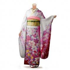 振袖 フルセット 花柄 Mサイズ 白・グレー系(中古 リユース 美品)86310