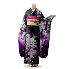 振袖 フルセット 花柄 Lサイズ 黒系(中古 リユース 美品)66358