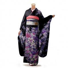振袖 フルセット 花柄 Mサイズ 黒系 (中古 リユース 美品) 66310