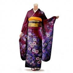 振袖 フルセット 花柄 Mサイズ 紫系 (中古 リユース 美品) 56461