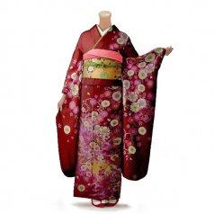 振袖 フルセット 花柄 Lサイズ 赤・ワイン系(中古 リユース 美品)16284