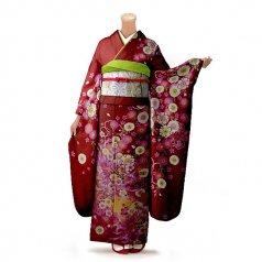 振袖 フルセット 花柄 Mサイズ 赤・ワイン系(中古 リユース 美品)16284
