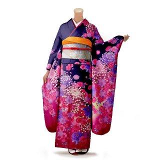 振袖 フルセット 花柄 Mサイズ 青・紺系(中古 リユース 美品)26999