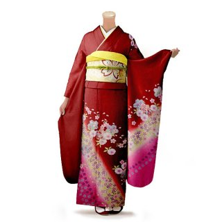 振袖 フルセット 古典 Mサイズ 赤・ワイン系 (中古 リユース 美品) 10513