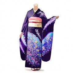 振袖 フルセット 花柄 Mサイズ 紫系 (中古 リユース 美品) 56220
