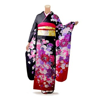 振袖 フルセット 花柄 Lサイズ 黒系(中古 リユース 美品)66406
