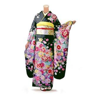 振袖 フルセット 花柄 Mサイズ グリーン系 (中古 リユース 美品) 96418