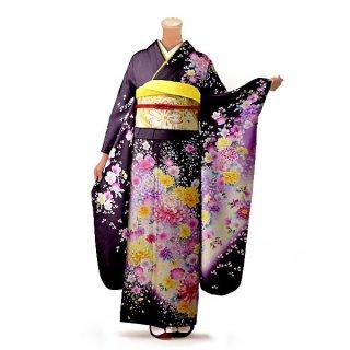 振袖 フルセット 花柄 Lサイズ 紫系(中古 リユース 美品)56208