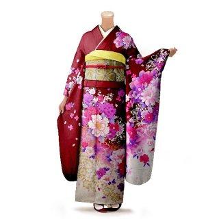 振袖 フルセット 花柄 Lサイズ 赤・ワイン系(中古 リユース 美品)16281
