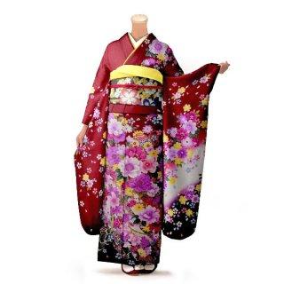 振袖 フルセット 花柄 Lサイズ 赤・ワイン系 (中古 リユース 美品) 16534