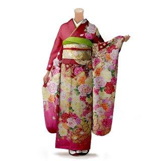 振袖 フルセット 花柄 Mサイズ 赤・ワイン系(中古 リユース 美品)16669
