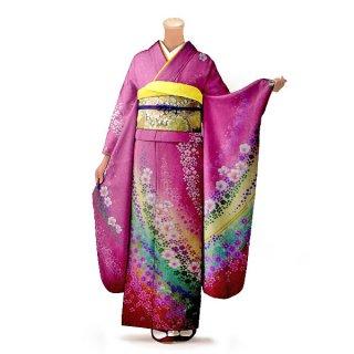 振袖 フルセット 花柄 Mサイズ ピンク・オレンジ系(中古 リユース 美品)46130