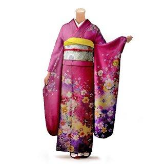 振袖 フルセット 花柄 Lサイズ ピンク・オレンジ系 (中古 リユース 美品) 46177