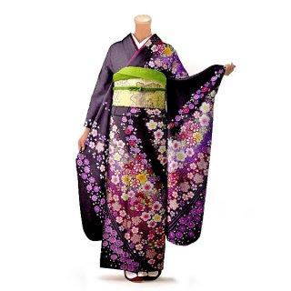 振袖 フルセット 花柄 Lサイズ 紫系 (中古 リユース 美品) 56254