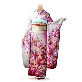 振袖 フルセット 花柄 Lサイズ 白・グレー系 (中古 リユース 美品) 86331