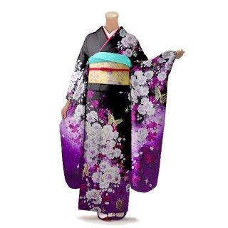 振袖 フルセット 花柄 Mサイズ 黒系(中古 リユース 美品)66358