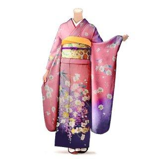振袖 フルセット 古典 Lサイズ ピンク・オレンジ系(中古 リユース 美品)40203