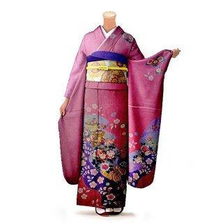 振袖 フルセット 古典 Lサイズ ピンク・オレンジ系 (中古 リユース 美品) 40201
