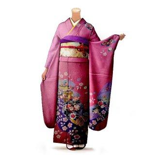 振袖 フルセット 古典 Mサイズ ピンク・オレンジ系 (中古 リユース 美品) 40201