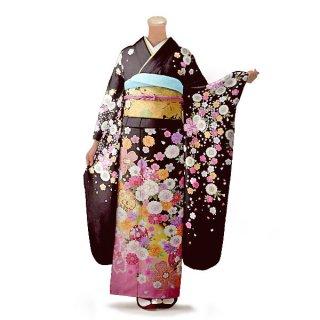 振袖 フルセット 花柄 Lサイズ 茶系(中古 リユース 美品)76332