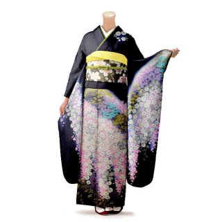振袖 フルセット 古典 Lサイズ 黒系 (中古 リユース 美品) 60222