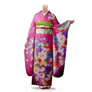 振袖 フルセット 花柄 Lサイズ ピンク・オレンジ系 (中古 リユース 美品) 46431