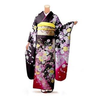 振袖 フルセット 花柄 Mサイズ 茶系 (中古 リユース 美品) 76324