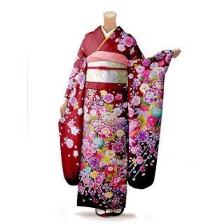 振袖 フルセット 花柄 Mサイズ 赤・ワイン系 (中古 リユース 美品) 16424