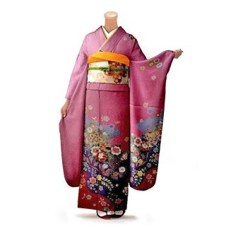 振袖 フルセット 古典 Lサイズ ピンク・オレンジ系 (中古 リユース 美品) 40199
