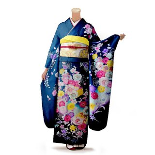 振袖 フルセット 花柄 Lサイズ グリーン系 (中古 リユース 美品) 96316
