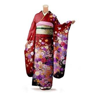 振袖 フルセット 花柄 Mサイズ 赤・ワイン系 (中古 リユース 美品) 16243