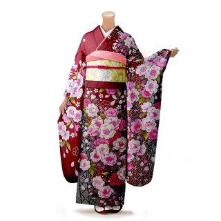 振袖 フルセット 花柄 Lサイズ 赤・ワイン系 (中古 リユース 美品) 16410