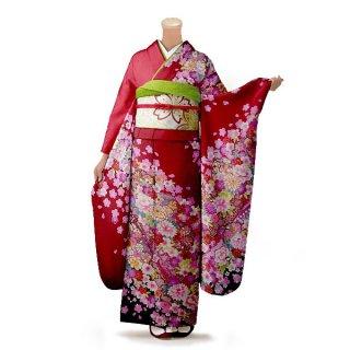 振袖 フルセット 花柄 Mサイズ 赤・ワイン系(中古 リユース 美品)16331
