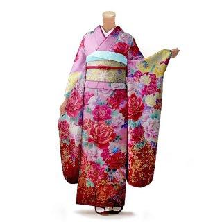 振袖 フルセット 花柄 Mサイズ ピンク・オレンジ系 (中古 リユース 美品) 46356
