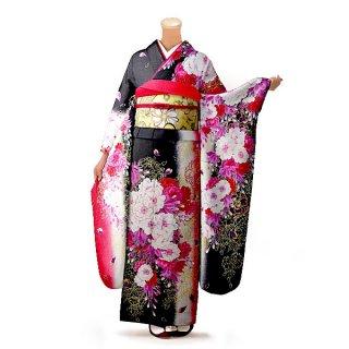振袖 フルセット 花柄 Mサイズ 黒系(中古 リユース 美品)66434