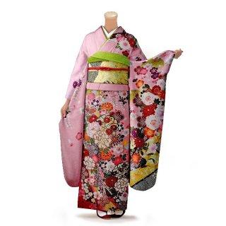振袖 フルセット 古典 Lサイズ ピンク・オレンジ系 (中古 リユース 美品) 40160
