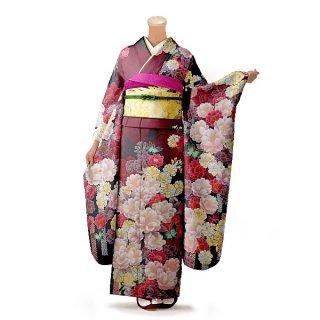 振袖 フルセット 花柄 Lサイズ 赤・ワイン系 (中古 リユース 美品) 16501