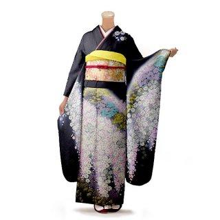振袖 フルセット 古典 Mサイズ 黒系 (中古 リユース 美品) 60222