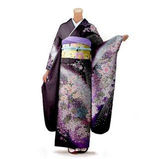 振袖 フルセット 花柄 Mサイズ 紫系(中古 リユース 美品)56539